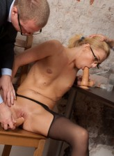 Wanna-be-employee dildo fucked in stockings at her job interview