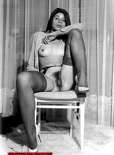 Black-n-white vintage porn with stockinged chicks getting down and dirty