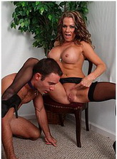 Dominant lady Allura Skye in stockings controls her slave and gets pussy and ass worship