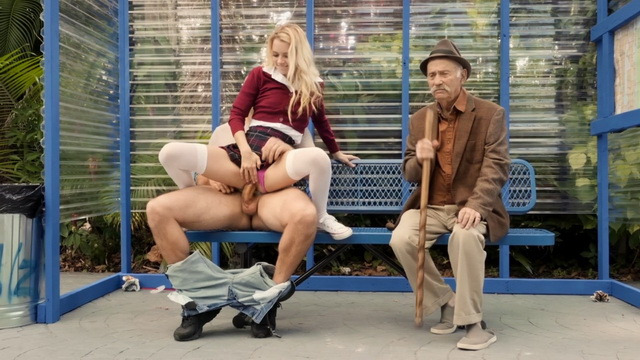 Slutty blonde schoolgirl Riley Star screwing on a bus stop in her white holdups