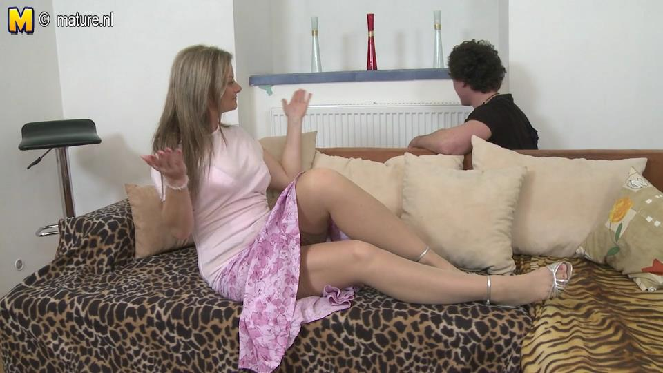 Pretty mommy with big ripe boobs opens legs in nude stockings for her hung toy-boy