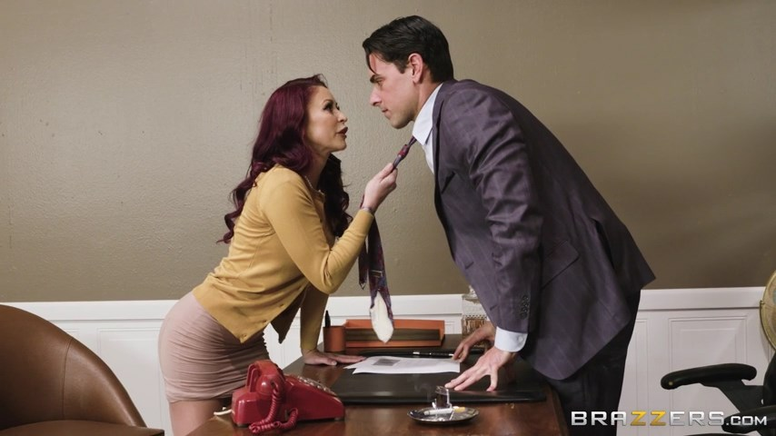 Office chick Monique Alexander gives a boost to her career with a through pantyhose fuck on the desk