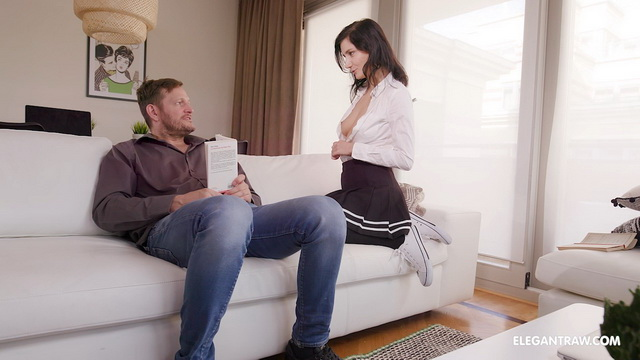 Upskirt teaser Melody Mae seduces her stepdad with her school uniform & nylons