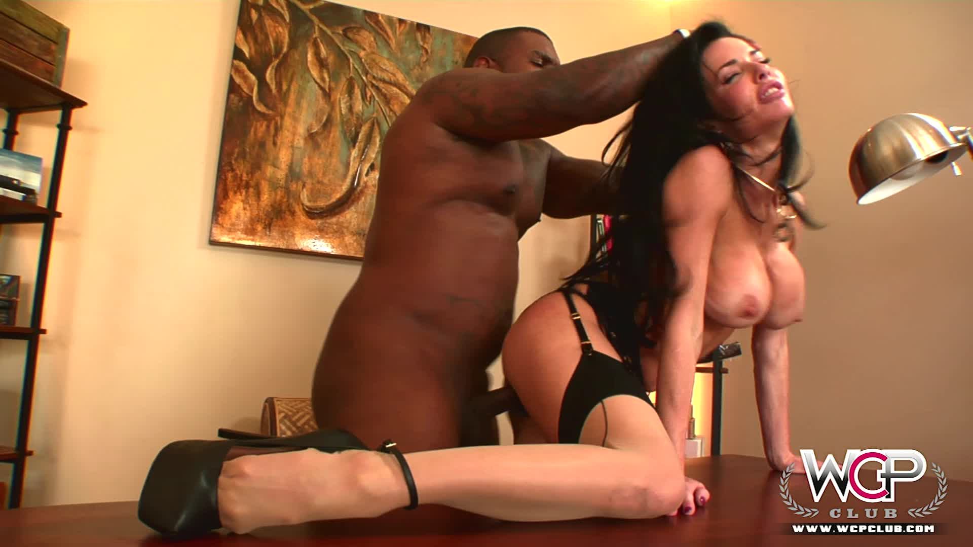 Busty milf Veronica Avluv in peek-a-boo lingerie and stockings rides a hung black coach