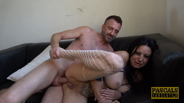 Busty fishnet-clad milf Damaris X gets strangled, spat on, slapped & ass banged
