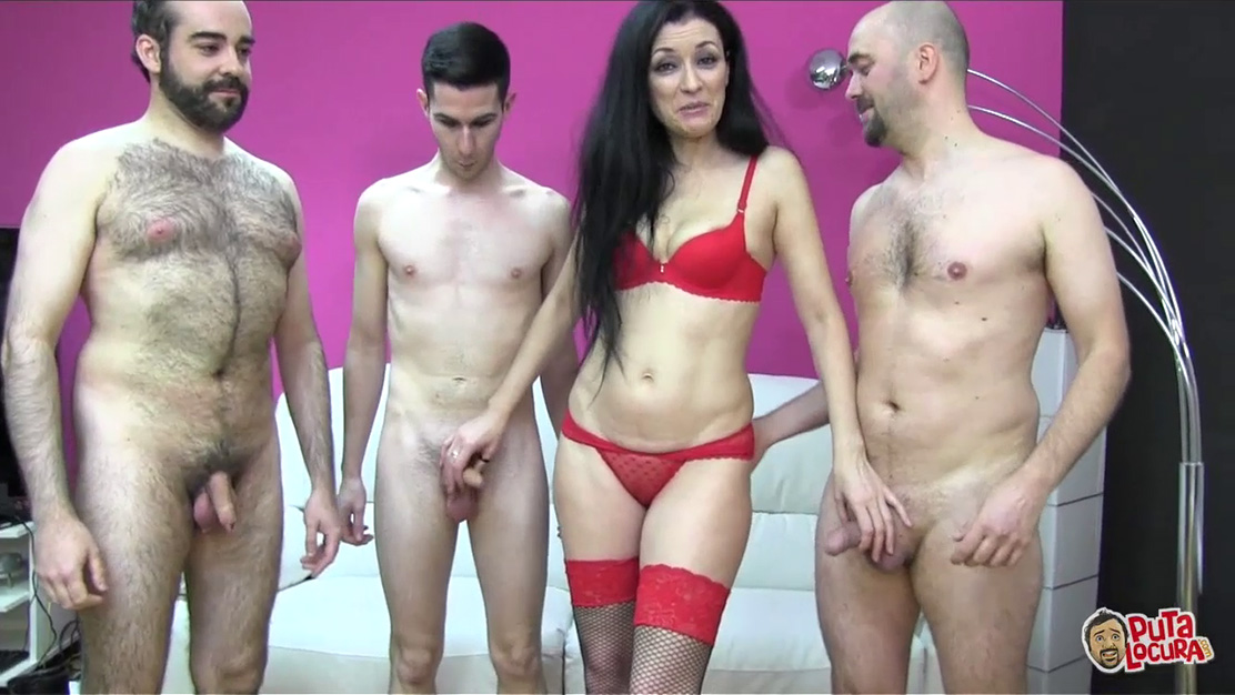 Spanish milf Carmen gets group fucked in her red lingerie and two-tone lace-up fishnets