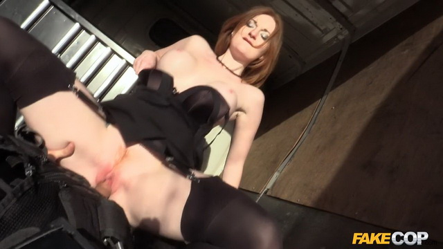 Pale-skinned British redhead Zara Du Rose blows and rides a fake cop with her legs in black opaques