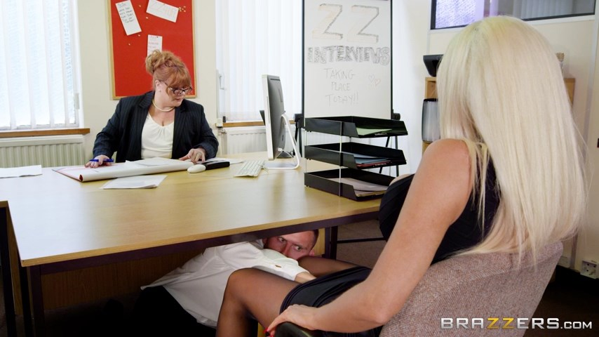 Super-busty blonde Nicolette Shea gets fucked in dark stockings and spike heels at her job interview