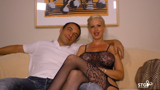 Blonde German slut Manu Magnum with big tits wears bodystocking during amateur sex ride