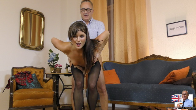 Nasty schoolgirl Lydia Lust jumps on old prick in her open crotch hose after a dance to a bagpipe