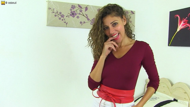 Stylish mom from France French Chloe rubs her hairy muff in stockings and heels