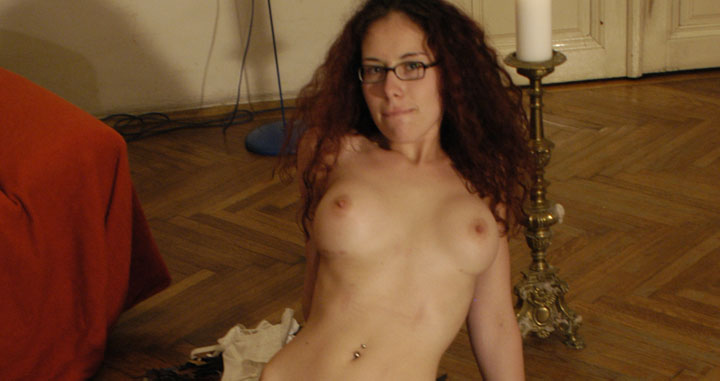 Nerdy Austrian amateur redhead in white stockings licked by other nerd