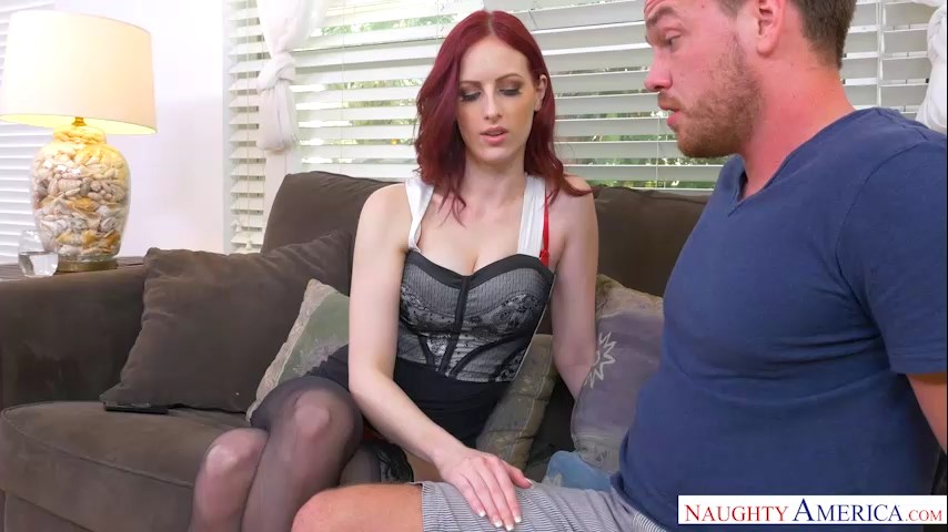 Pale redhead Alex Harper blackmails her friend's fiance into stockinged boning