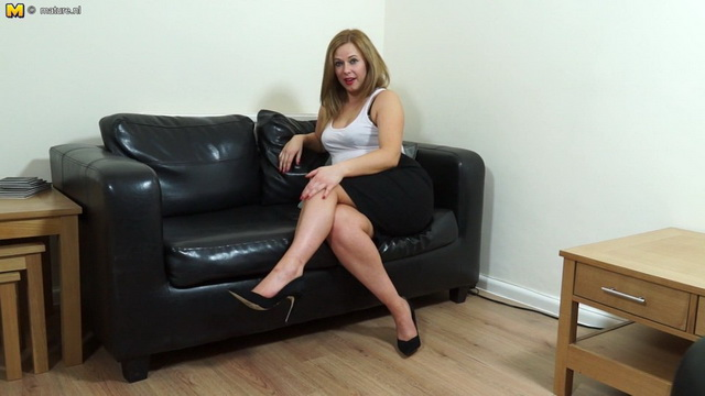 Cute British mom Anna Joy playing with herself