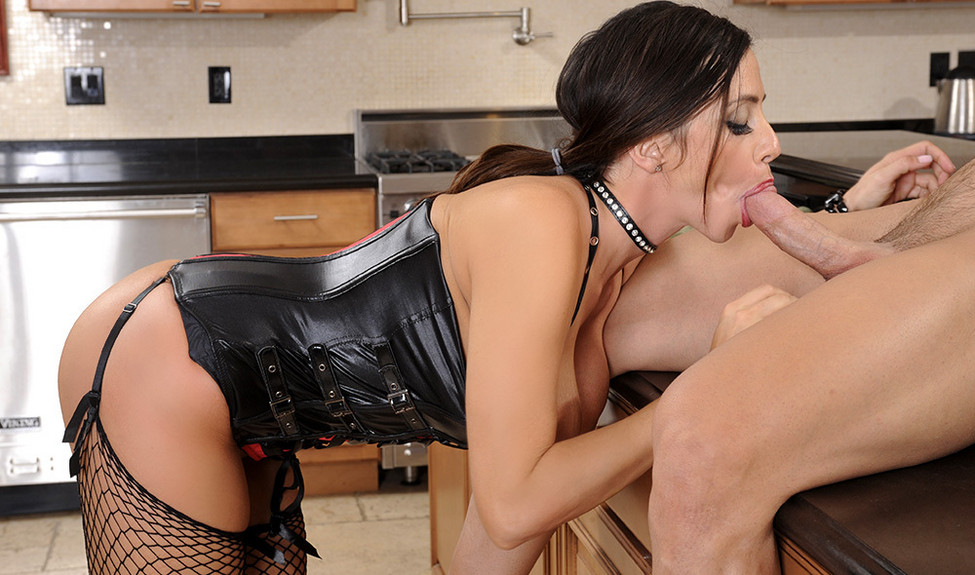 Busty Latina Ariella Ferrera in a red corset and black fishnets applies for a job