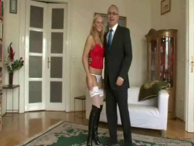Hot blondie Barbie Knight in white nylons and black boots banged by an oldie