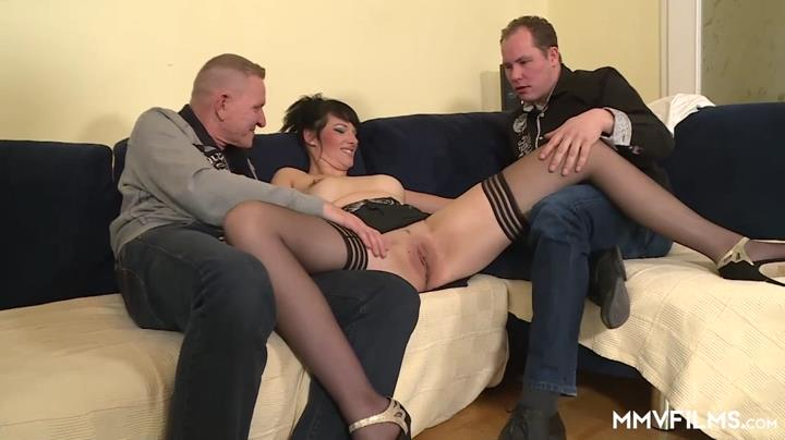Bored German couple invites an extra guy to double fuck a busty leggy wife clad in black stockings