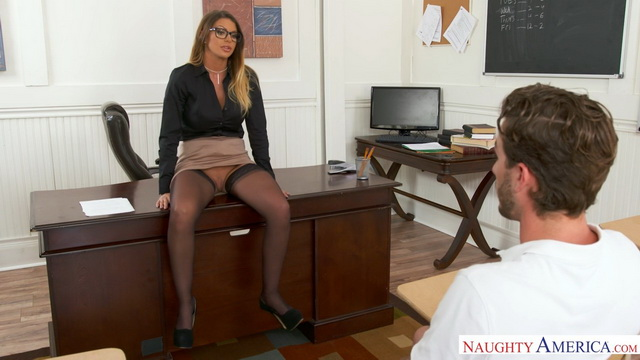 Hot teacher Brooklyn Chase gets nailed after classes in her black nylons & heels