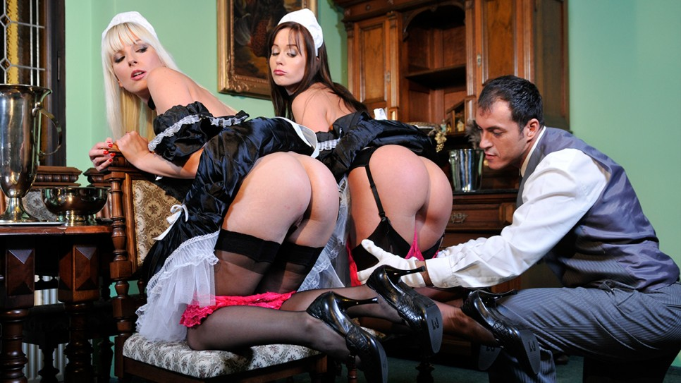 Two maids having fun with the butler