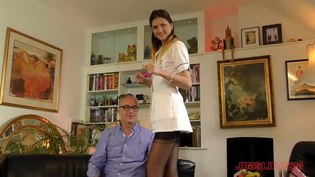 Sexy UK nurse Eva Johnson gives an old man a good treatment in her short robe and popping out nylons