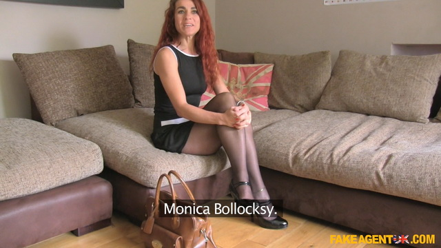Auditioned milf Monica Bollocksy flaunts her slim pantyhosed legs before anal and nylon throat fuck