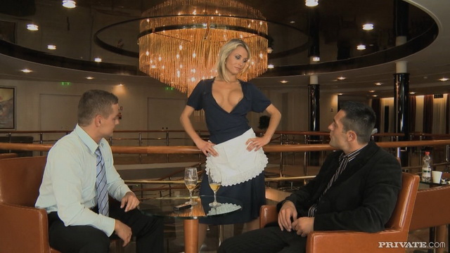 Sassy maid Laura Crystal shows her boobs and suntan holdups betting to serve two customers at a time