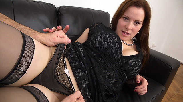 Curvy Czech mom Carol Wings with a tasty cleavage and butt scored in stockings