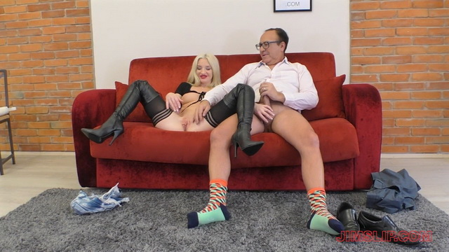 Anna Riv aka Anjela Vital clad like a hooker with nylons & boots for an old gent