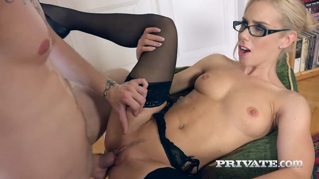 Spectacled blonde milf-secretary Nesty expertly blows and rides a stiffy in her stockings and heels