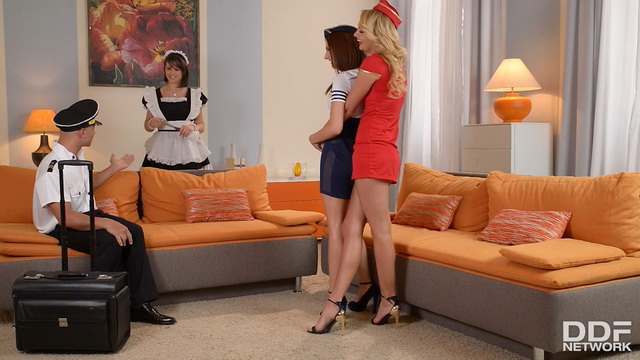Air hostesses Ivana Sugar & Hannah Sweet join stockinged maid Cinthia Doll for FFFM