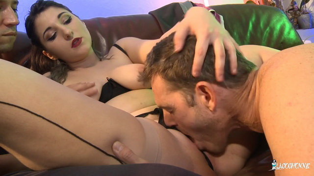 French newbie Mylene Johnson gets facial and cum on ass after MMF threesome