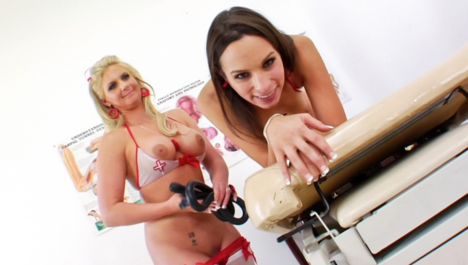 Sleazy nurses and a pretty doll in bow trimmed nylons stuffing big jelly toys