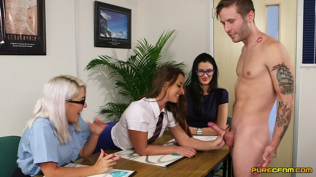 Stockinged ladies Amirah Adara, Carla Mai and Lu Elissa summon a hung guy for a disciplinary blowjob
