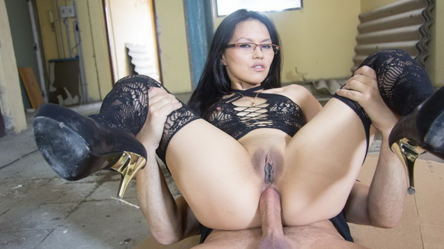 Asian cutie Lady Mae with eyeglasses takes a rough anal pounding and a nice facial