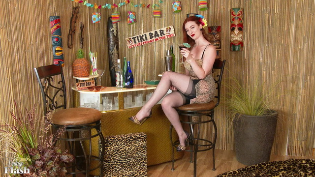 Fiery Brit Zara Du Rose gets dirty at the bar in her retro leopard corset, sheer panties & FF nylons