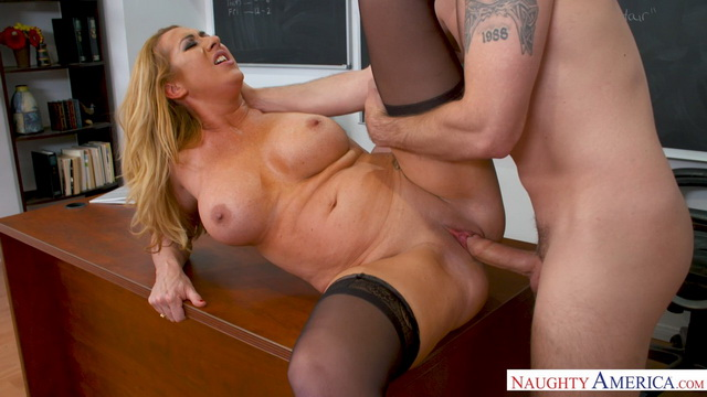 Heavily busty teacher Janna Hicks keeps a student in class for a stockinged fuck