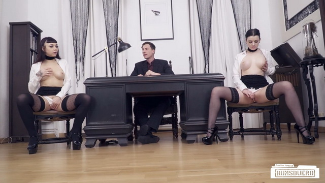 Hot goth German babes Leah Obscure and Alissa Noir fuck each other in front of their boss at the office