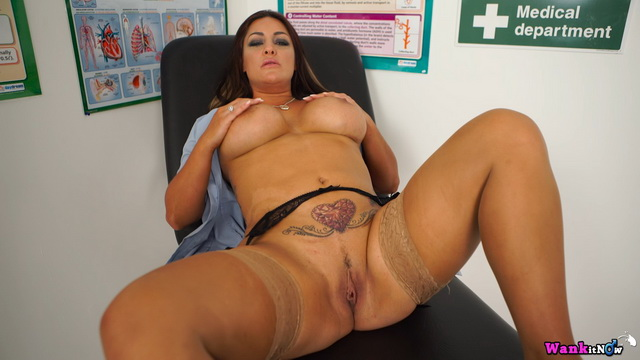 Bigtitted British nurse Roxy R. undoes her robe and strips to nylons for a wank