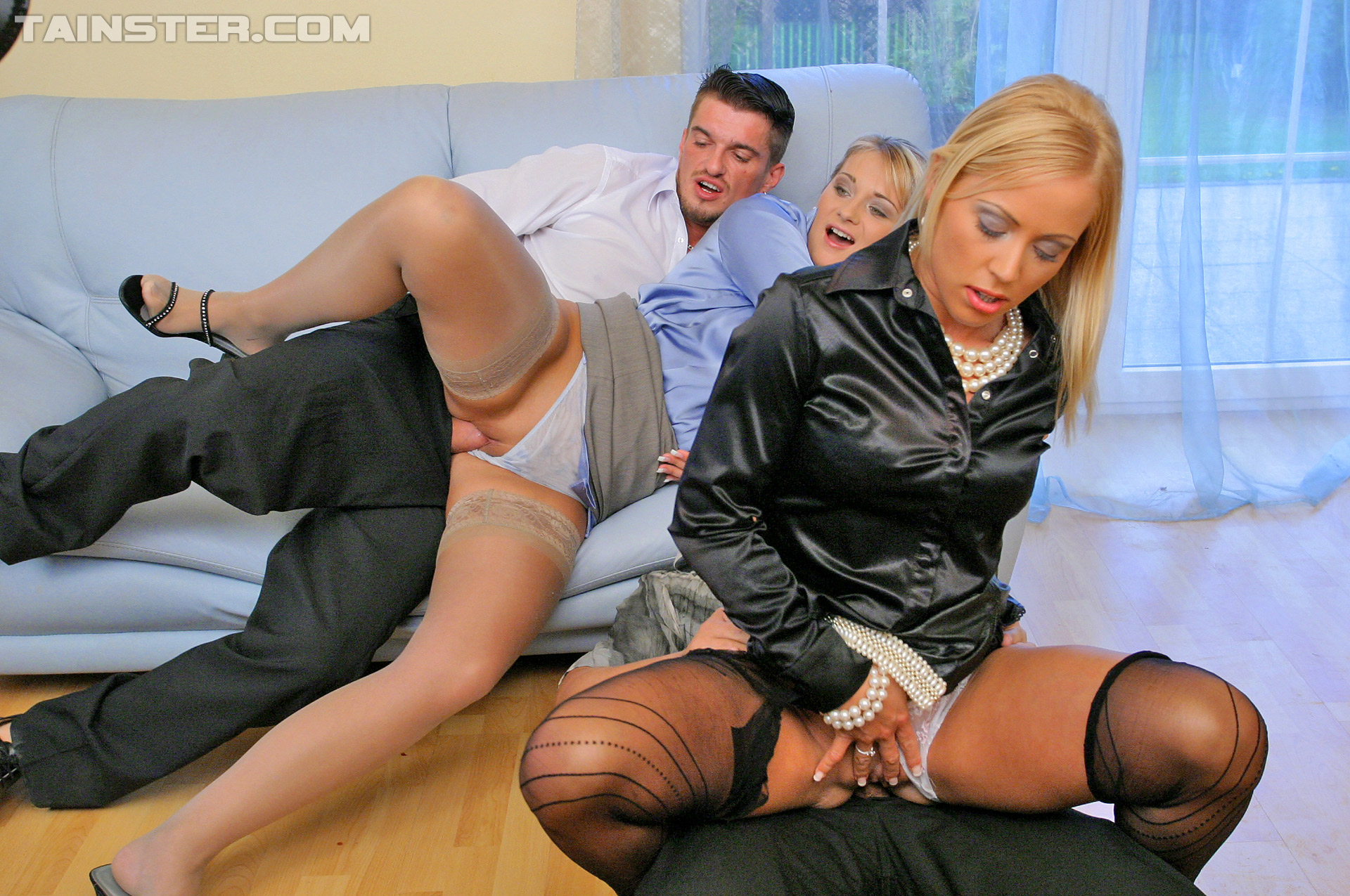 Fully clothed Bibi Fox gets her black patterned pantyhose ripped for a  foursome fuck