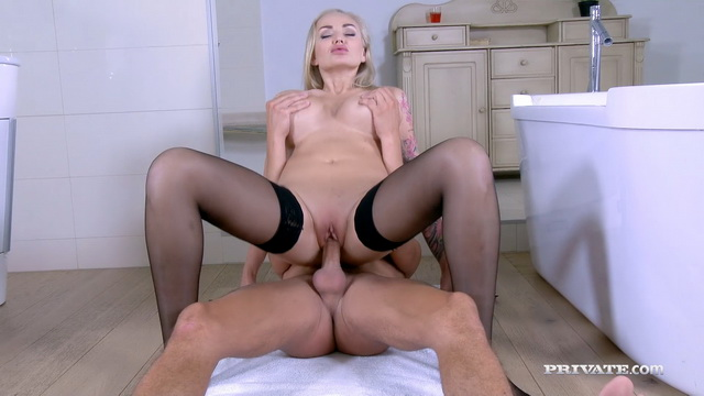 Busty tattooed cougar Kayla Green strips to her black holdups for anal ATM and cum-glazed boobs