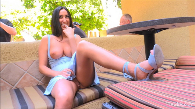Upskirt Cecilia in a blue dress and high heels flashes her big boobs and pantyless pussy in public