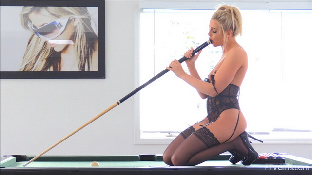 Blonde Kaylie fucks herself on a billiard table in her black lace teddy, stockings & platform heels