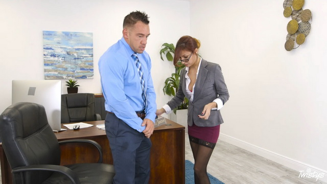 Upskirt office babe in popping out FF nylons Jade Jantzen gives a sex aid to a super-hung employee