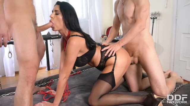 Submissive to DP Polack Ania Kinski bound, blindfolded & team fucked in stockings