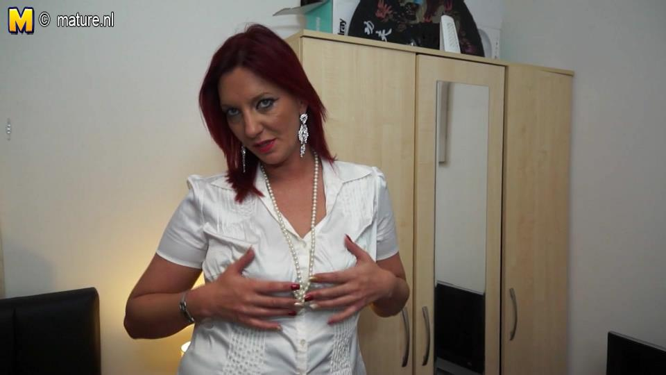 Red-haired mature Brit Franceska fingers her muff all dolled-up in her lacy undies and nylons