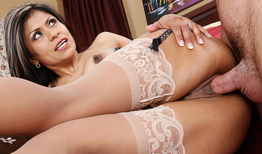 Cheating Latina wife Gabby Quinteros in sheer lacy stockings seduces a serviceman