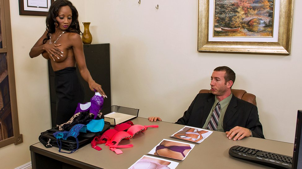 Brown slut Diamond Jackson tries on various bras before a quickie in white nylons