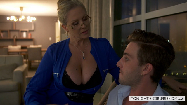 Blonde Julia Ann plays a hot bigtitted older teacher ready for a stockinged ride