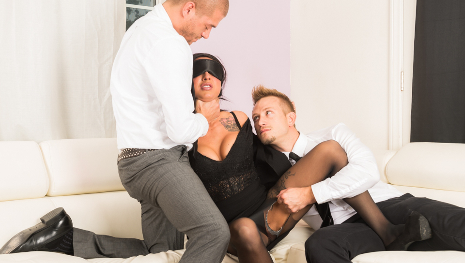 Dressy brunette slut Lily Lane gets blindfolded and DPed thru her crotchless tights by two gents