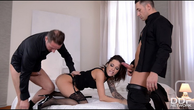 Hot French sub Nikita Bellucci in black FF nylons & heels gets spanked, fisted and ass fucked in FMM